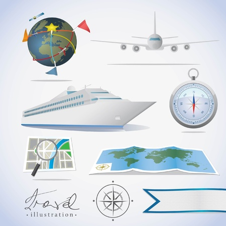 Travel icons. Different types of transportation, compass and maps. Vector