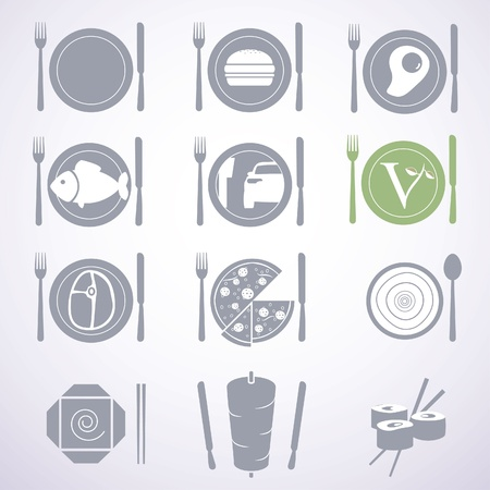 Collection of stylish food signs for different types of restaurants and fast foods. Vector