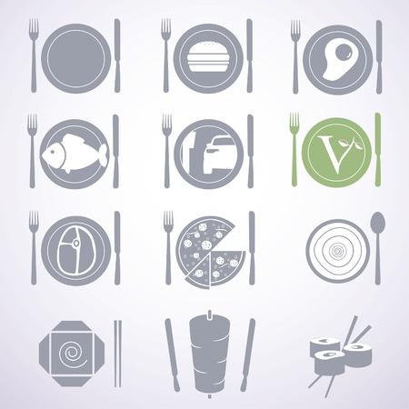 sushi: Het verzamelen van voedsel stijlvolle borden voor verschillende soorten restaurants en fastfood. Stock Illustratie