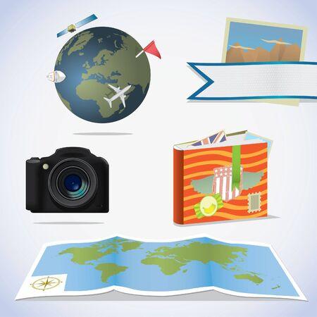 Travel icons. Camera, photo album, map and globe. Illustration