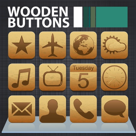 Set of detailed wooden app buttons on a cotton background with a glossy shelf