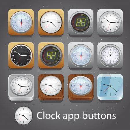 Set of detailed clock app buttons Vector