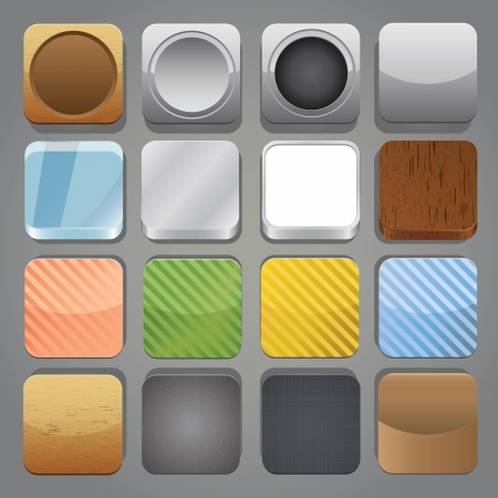 Set of app buttons with different texture