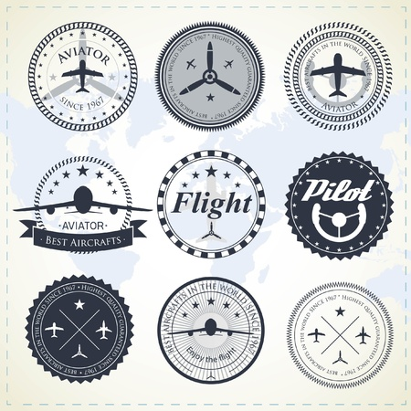 Set of vintage aviation labels Vector
