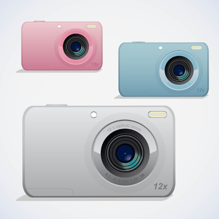 Digital camera vector illustrations. 3 colors.  Illustration