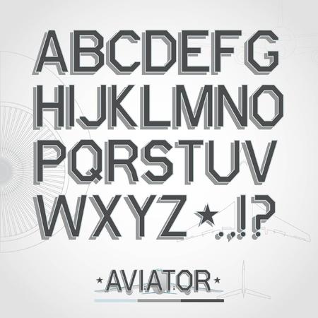Vector font. Full alphabet Illustration