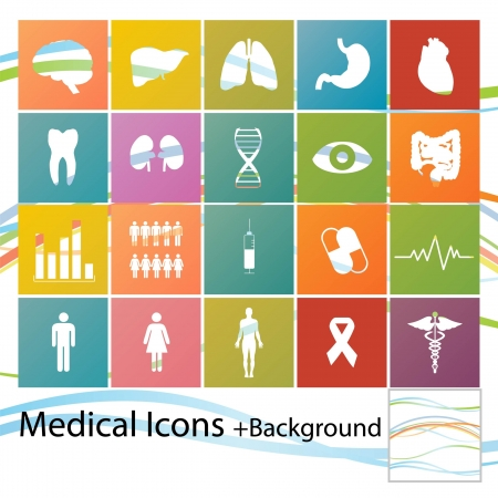 bowel: Set of minimal style medical icons
