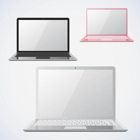 Laptop illustrations. 3 colors.