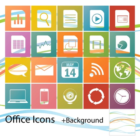Set of minimal style office icons Vector