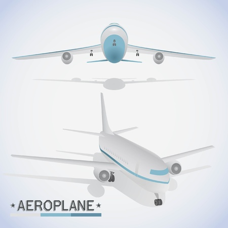 Aeroplane in different positions. Illustration
