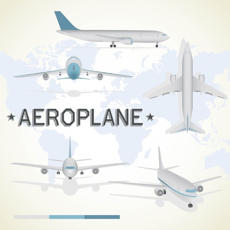 Aeroplane in different positions. Top view, flying, take off, front view, side view.