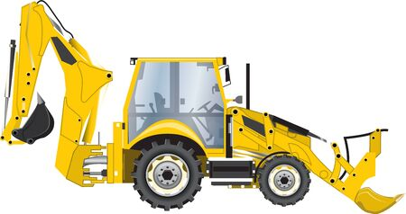 backhoe: Illustration of yellow backhoe, white background, vector image