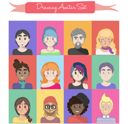 Drawing avatar set, different people in different collors