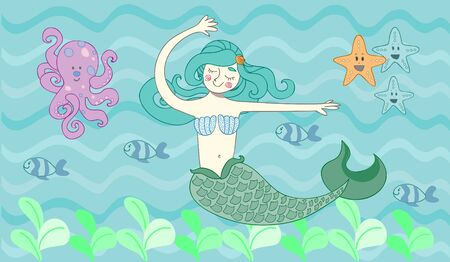 Cute mermaid swimming in the blue sea surrounded by fish, starfish and octopuses