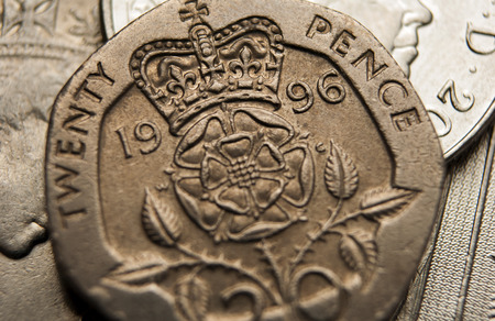 british isles: Pound sterling coins Stock Photo