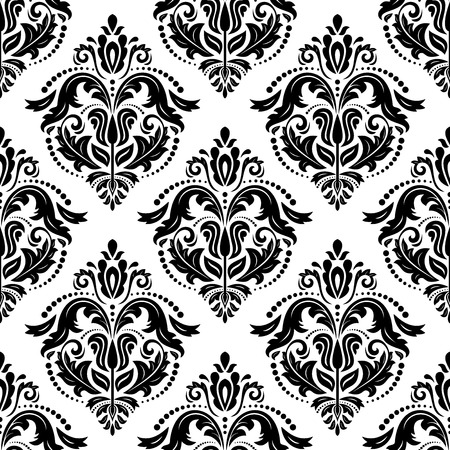 Oriental vector pattern with damask, arabesque and floral elements  Seamless abstract background Vector