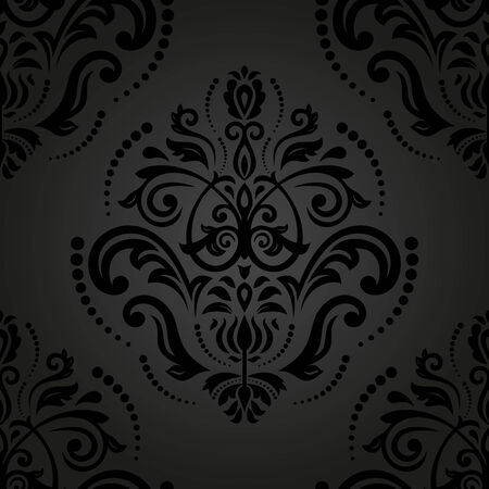 Oriental vector pattern with damask, arabesque and floral elements. Seamless abstract background Vector