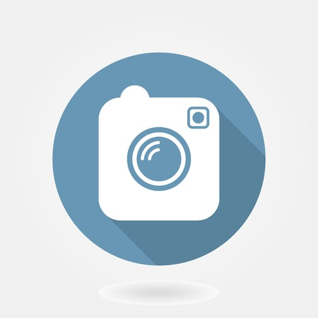 Camera like instagram icon with flat design. in blue circle with long shaddow