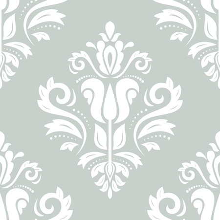 blue damask: Oriental  pattern with damask, arabesque and floral elements. Seamless abstract background