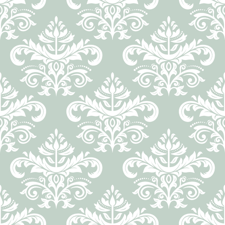 white victorian old retro vintage: Oriental vector pattern with damask, arabesque and floral elements. Seamless abstract background