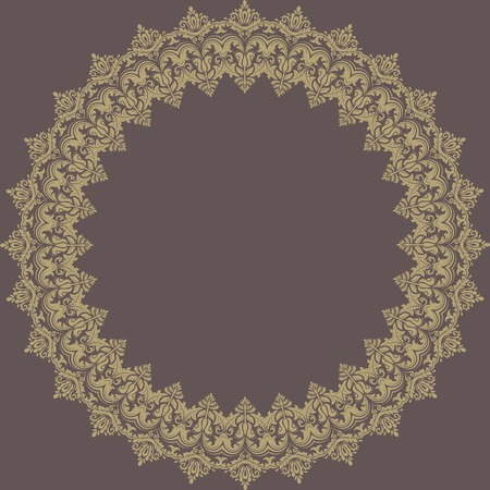 oriental vector: Oriental vector frame with damask, arabesque and floral pattern. Abstract background