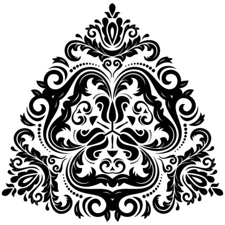 Orient vector ornamental round lace with damask and arabesque elements. Traditional ornament Vector