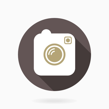 Camera vector icon with flat design in blue circle with long shadow Vector