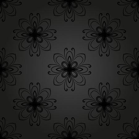 black damask: Oriental  pattern with damask, arabesque and floral elements. Seamless abstract background