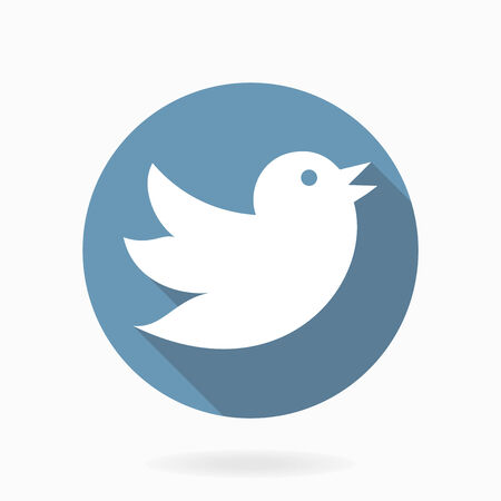 tweeting: Flying bird vector icon with flat design with long shadow