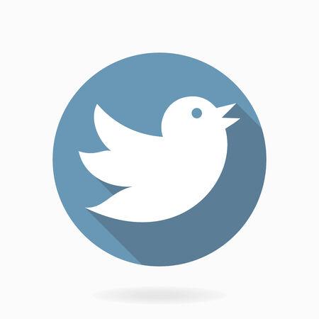 followers: Volare icona vettore uccello con design piatto con una lunga ombra Vettoriali