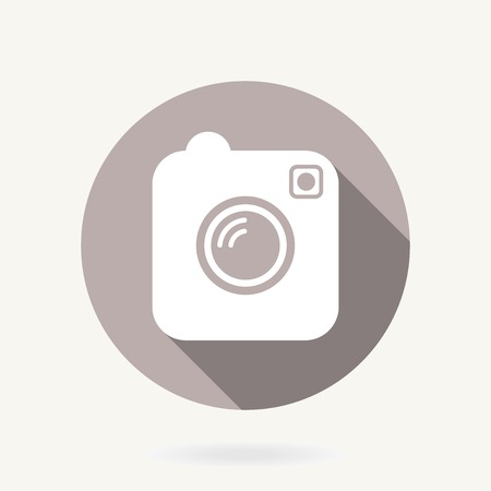Camera vector icon with flat design with long shadow