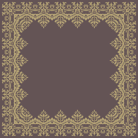 Oriental  frame with damask, arabesque and floral pattern. Abstract background photo