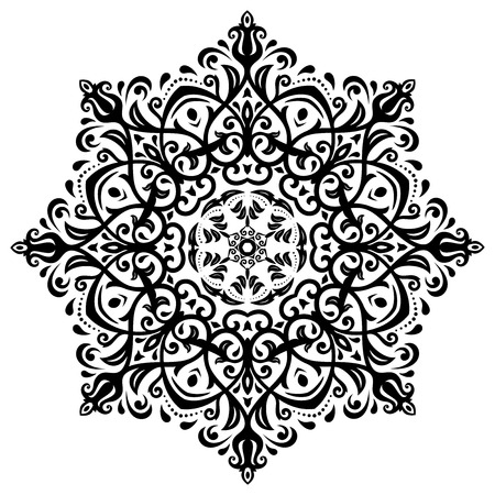 Damask  floral pattern with arabesque and oriental elements. Light abstract traditional round ornament for wallpaper and background Vector
