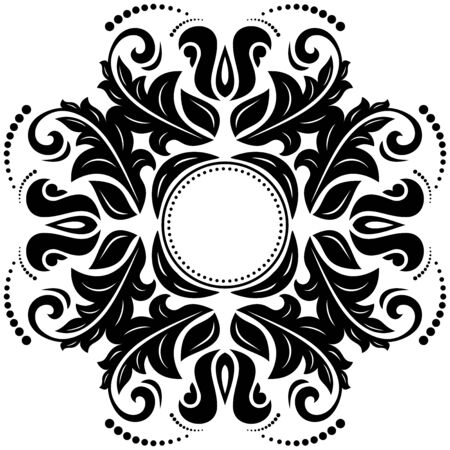 Orient  ornamental round lace with damask and arabesque elements. Traditional ornament photo
