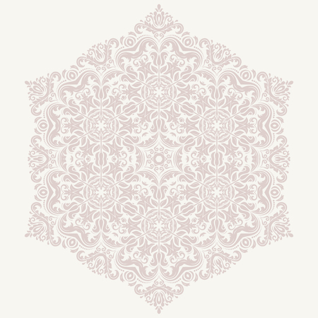 Damask vector floral pattern with arabesque and oriental elements. Pink abstract traditional ornament for wallpaper and background Vector
