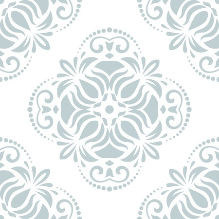Oriental vector pattern with damask, arabesque and floral elements. Light seamless abstract background Vector