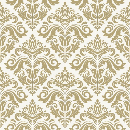 Damask vector floral pattern with arabesque and oriental golden elements. Seamless abstract tradiional ornament for wallpaper and background Vector