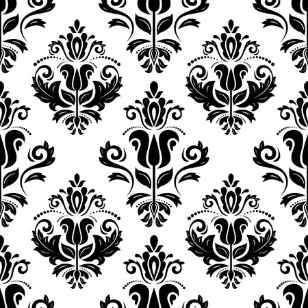 Oriental vector pattern with damask, arabesque and floral elements. Seamless abstract background with black and white colors