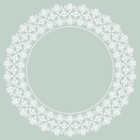 Damask vector floral pattern with arabesque and oriental elements. Blue and white abstract traditional ornament for cards and background Vector