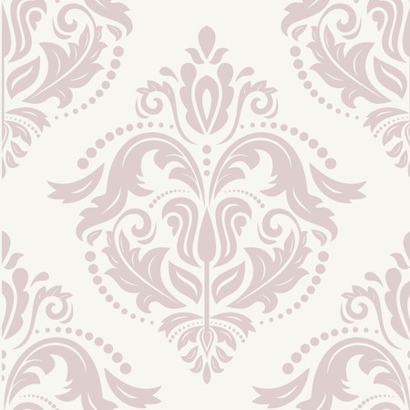 Oriental vector pink pattern with damask, arabesque and floral elements. Seamless abstract background Ilustração
