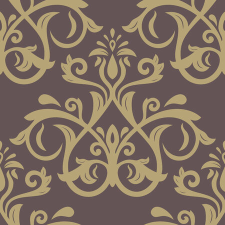 traditonal: Damask vector floral pattern with arabesque and oriental elements. Seamless abstract traditonal bronze ornament for wallpaper and background
