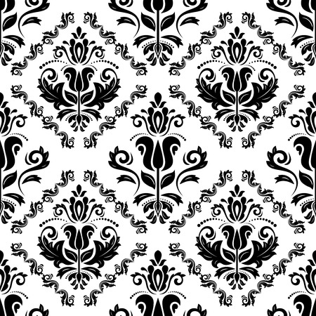 traditonal: Damask vector floral pattern with arabesque and oriental elements. Seamless abstract traditonal ornament for wallpaper and background