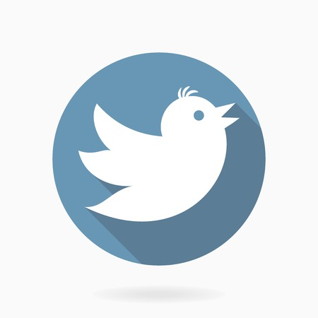 Vector icon with flying white bird in blue circle with flat design and long shadow