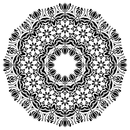 Damask vector floral pattern with arabesque and oriental black elements and white background. Abstract traditional ornament for wallpapers Vector