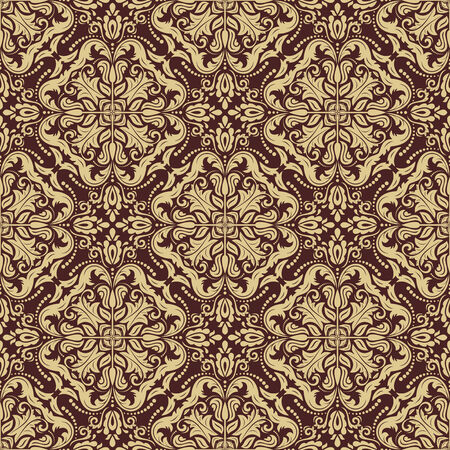 Oriental vector golden pattern with damask, arabesque and floral elements. Seamless abstract background Vector