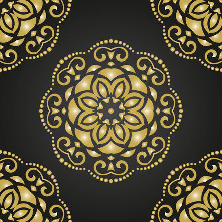 Oriental vector dark pattern with damask, arabesque and floral golden elements. Seamless abstract ornament Vector