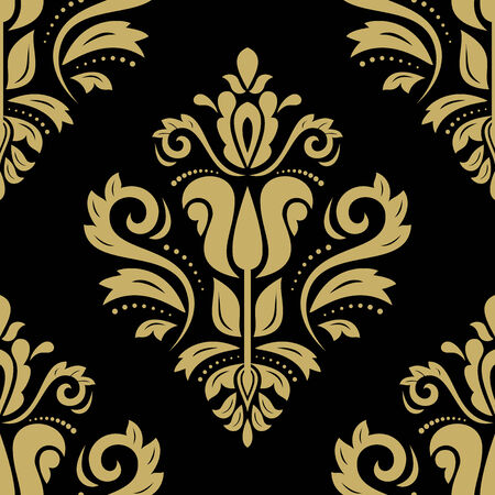 Damask vector floral pattern with arabesque and oriental golden elements. Dark seamless abstract traditional ornament for wallpapers and background Vector