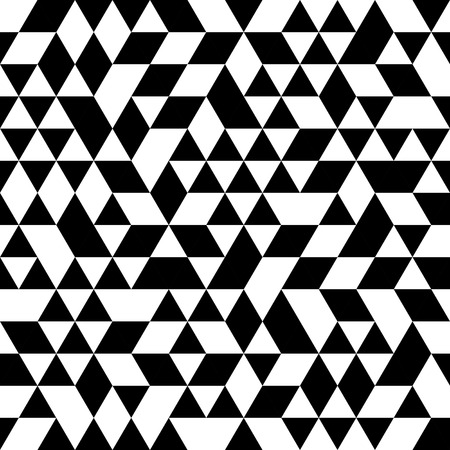 Geometric vector pattern with black and white triangular elements. Seamless abstract ornament for wallpapers and background
