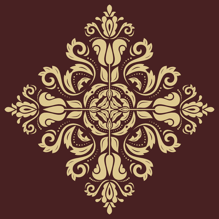 Oriental vector pattern with damask, arabesque and floral elements. Abstract background. Brown and golden colors Vector