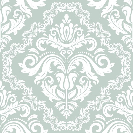 Damask vector floral pattern with arabesque and oriental elements. Light seamless abstract traditional ornament for wallpapers and background Vector